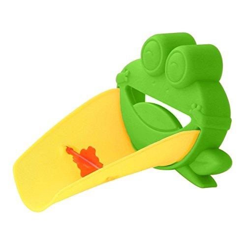 Demiawaking Süß Wasserhahn Verlängerung Extender für Kinder Baby Hände waschen Badezimmer-Cartoon Frosch Design (Grün) -