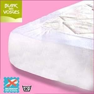 Protège matelas anti acarien Microstop Blanc des Vosges 120x190 (1 pers)