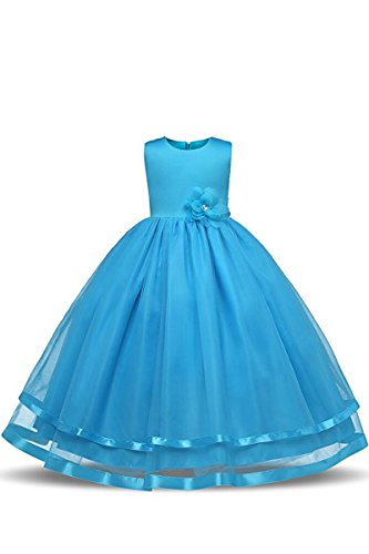 (YMING Mädchen Kleider Armelos Brautjungfern Kleider Hochzeit Party Festliches Prinzessin Kleid,Himmel Blau,10-11 Jahre Alt)