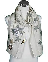 Mevina Schal mit Patches Glitzer Patch Stern Fransen Glitzersteine groß rechteckig Baumwolle Schal Halstuch