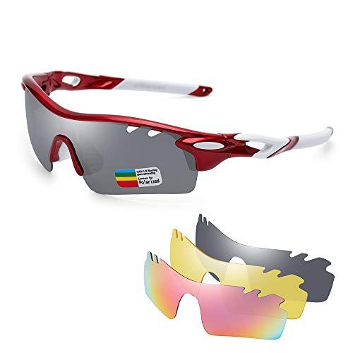 JIM HALO Polarisiert Sport Sonnenbrille für Damen Herren UV400 Schutz Radfahren Laufen Angeln Brille 3 Austauschbar Linsen Schwarz Rot
