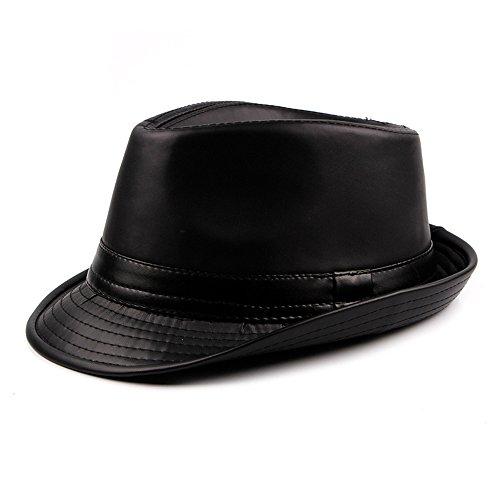Cuero PU Sombreros Fedora Hombres Chicos Invierno Sombreros Trilby Homburg, Negro