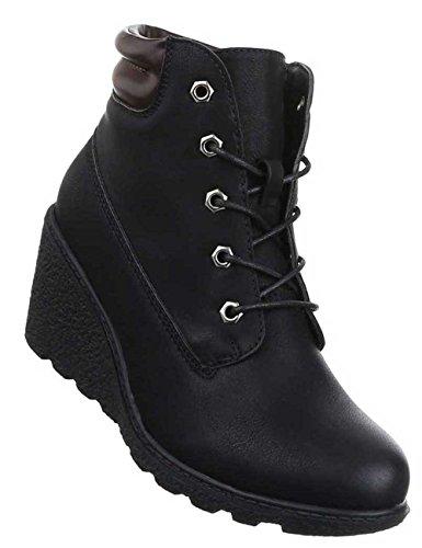 Damen Stiefeletten Schuhe Schnürer Keil Boots Schwarz Schwarz