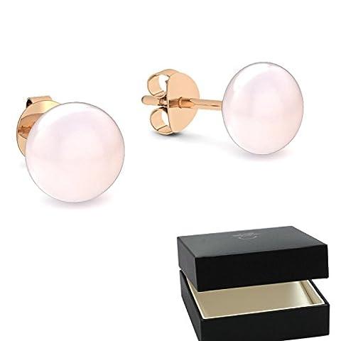 Rosegold Ohrringe Süßwasser Perle rosé hochwertig vergoldet! + inkl. Luxusetui
