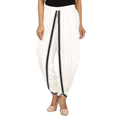 Off White Color Rayon Dhoti Pant, Patiala Dhoti Salwar for Women, Girls...