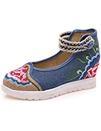 Lazutom - Zapatillas para mujer, color rojo, talla 34 EU