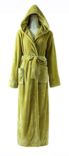 Frauen / Männer Unisex Herbst / Winter Flanell Cosy Warm Home Bademantel Bademantel Pyjamas Dicke Warme Hosen Bademantel Pyjamas Extra Lange,Green-XL (Spa Braut Robe)