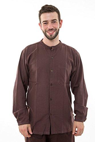 - Chemise coton leger marron Nepal boutons coco Gengis - Marron