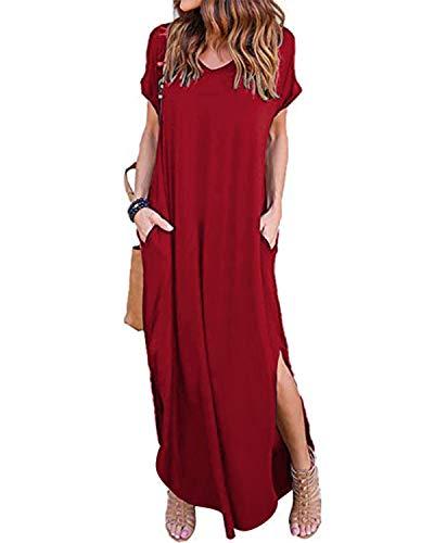 VONDA Damen Kleider Lange Sommerkleid Kurzarm Cocktail Elegant Ballkleid Mit Ärmel Wein Rot S - Cocktail-kleid Langes Kleid