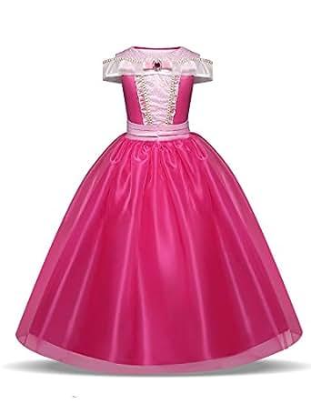Pretty Princess Ragazze Vestito Abito Aurora costume da principessa per bambina occasione carnevale compleanno festa halloween 5-6 Anni