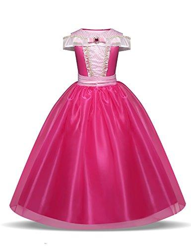 Kostüm Princess Kinder - Pretty Princess Mädchen Prinzessin Aurora Cosplay pink Brosche schulterfrei Tüll Kleid Kostüm 5-6 jahre