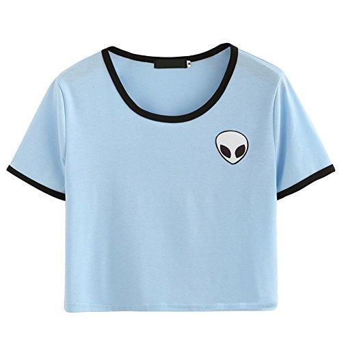 ROPALIA Damen Short Sleeve Tee lose Print Bluse Lassige Crop Tops (EU38/UK14, Light blue) (Blue Light Damen-shirt)
