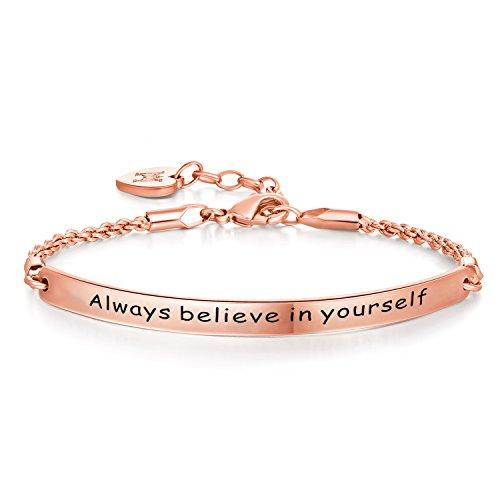"""Bracelet Jonc avec Gravure Message – """"Always believe in yourself"""" – Plaqué Or Blanc – Phrases d'Inspiration – Tendance, Moderne et Élégant – Femme et Jeune Fille"""