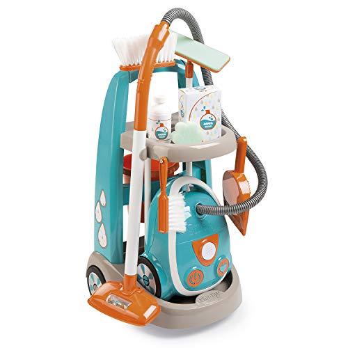 Smoby - 330309 - Chariot de Menage + Aspirateur Electronique - 9 Accessoires