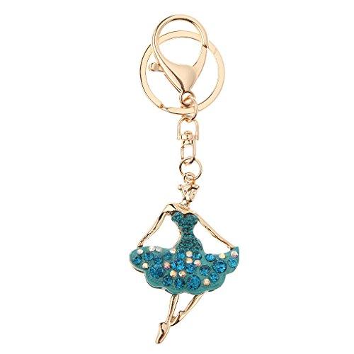 Ballerina Del Rhinestone Di Figura Del Keychain Chiave Sacchetto Dell'anello Lago Fascino Blu