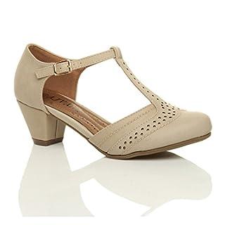 Damen Mitte Blockabsatz T-Riemen Ausgeschnitten Brogues Pumps Sandalen Größe 8 41