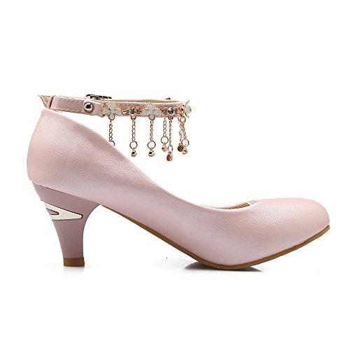 AgooLar Femme Boucle à Talon Correct Matière Mélangee Couleur Unie Chaussures Légeres Rose