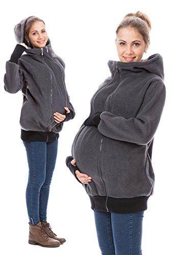 GoFuture Damen Tragejacke für Mama und Baby 4in1 Känguru Jacke Umstandsjacke Fleece mit Hochkragen HALLA GF2307 Graphit mit marineweißen Streifen