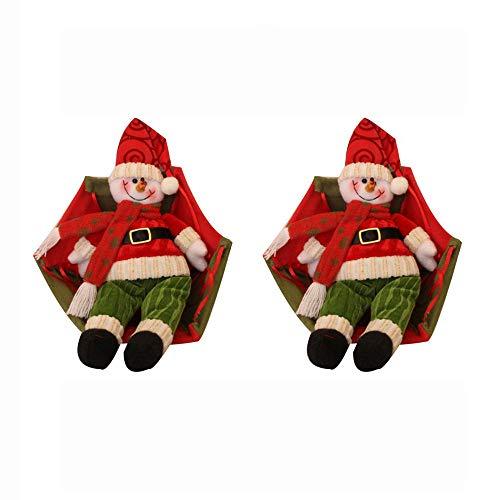 Dorical 2 Stück Geschenke Weihnachten Deko Weihnachtsmann Claus Schneemann In Fallschirm Weihnachten Baum Hängend Verzierung Dekoration