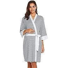 QinMM Bata de Maternidad Camisones Hospital Bata de Lactancia Materna Premamá camisón Mujer Embarazada Vestido Pijama