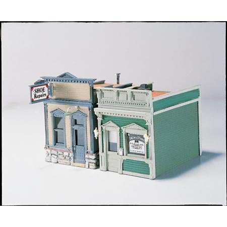 Woodland Scenics HO Scale Scenic Details Doctor's Office and Shoe Repair by Woodland Scenics