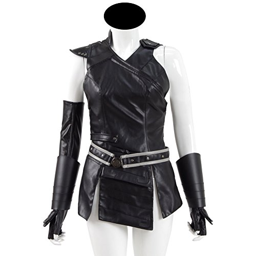 Cosdaddy Cosplay Kostüm Erwachsene Damen Kleidung Fancy Dress Outfit Halloween Ärmellos Warrior Anzug Top Set (Schwarz, (Kostüme Valkyrie Halloween)