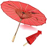 Urvi Creations Chinese Cloth Floral Red Umbrella for Party Props, Pre Photobooth Props