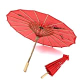#3: Urvi Creations Chinese Cloth Floral Red Umbrella for Party Props, Pre Photobooth Props