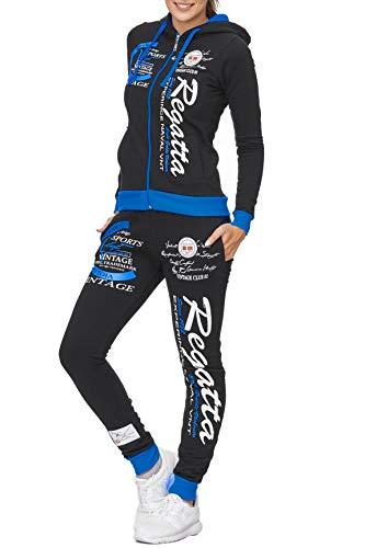 Damen Trainingsanzug | Regatta 672 | Jogging-Anzug aus 100% Baumwolle | Trainings-Jacke mit Reißverschluss | Jogging-Hose mit Tunnelzug und Zugband | Sport-Anzug (XL-fällt größer aus, Schwarz-Blau)