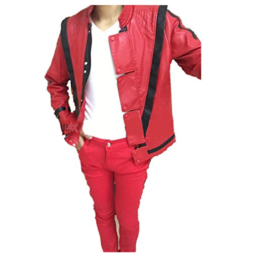 Jacke M Thriller Kostüm Jackson - Shuanghao Michael Jackson Leder Thriller Red Jacket Hosen und kostenlose Billie Jean Glove (M: H 165-170cm)