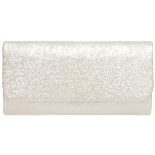 CASPAR TA371 Damen Baguette Clutch Tasche Abendtasche, Farbe:perlmutt;Größe:One Size