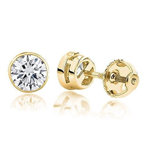 Luxurman 18k Gold Solitaire Round Diamond Bezel Stud Earrings (Yellow Gold)