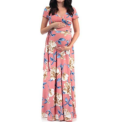 Baiomawzh Umstandskleid Damen Sommer Sexy Schwangere Stillzeit Blumendruck Kurzarm V-Ausschnitt Maxikleid Maternity Kleid Elegant Casual Große Größe Stillkleid Umstandsmode Mit Gürtel -