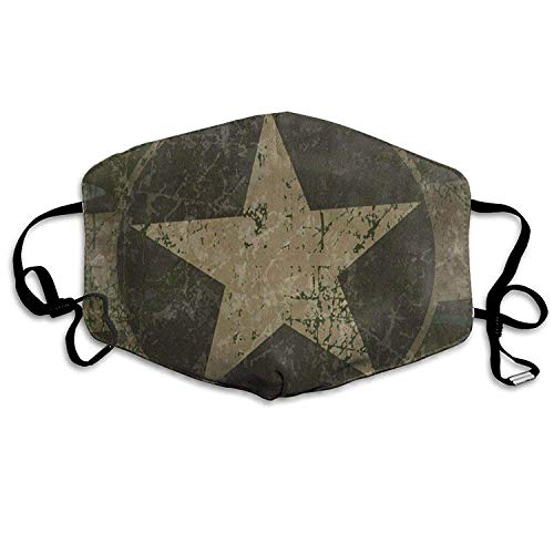Fashion Outdoor Reusable Mouth Mask, Face Masks with Design, Face Mask Vintage Military Space Star Stylish Cycling Half Face Earloop Dust Mask for Girls