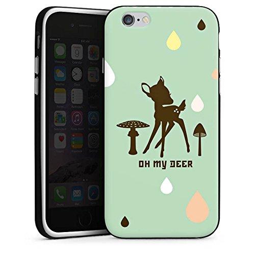 Apple iPhone 4 Housse Étui Silicone Coque Protection Oh ma biche Bambi Chevreuil Housse en silicone noir / blanc