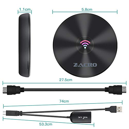 Zacro 4K Adaptador 5GHz + 2.4GHz Wireless WiFi Dongle HDMI,  Mini Pantalla Display Receptor Inalámbrico para Android/PC/TV/Monitor/Proyector