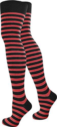 normani 1-10 Paar Damen Karneval Kostüm Fasching Baumwoll-Overknees Blickdicht Halterlose Strümpfe mit Streifen Farbe Schwarz/Rot Größe 1 - Kostüm Mit Roten Und Weißen Streifen