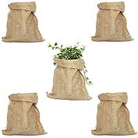 Pack 5 Sacos de Yute 100% Natural. Bolsas Ecológicas ideales para Decoración de Cocina, Jardín, Fiestas Vintage y Huerto Urbano. Organizador Rústico para Verduras y Plantas (26x48cm)