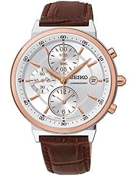 Seiko Herren-Armbanduhr Chronograph Quarz Leder SNDW48P2