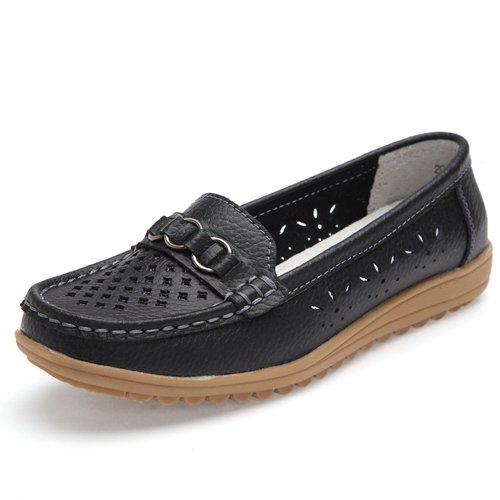 LEIT YFF Chaussures Femmes en Cuir Chaussures Plates Découpées Slip-On Chaussures Mocassins Black