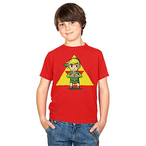 Texlab Kinder Finger Triforce T-Shirt, Rot, 5-6 Jahre-116 (S) -