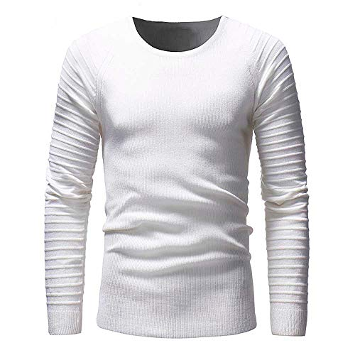Geili Herren Langarmshirt Strickpullover Falten Pulli Herren Long Sleeve T-Shirt Rundhals Einfarbig Base Tops Oberteile Freizeit Slim Fit...