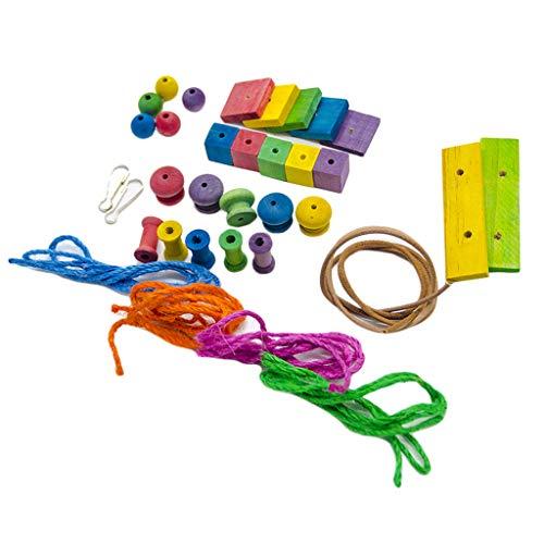 LOVIVER Vogel Papagei Spielzeug Bunte Holz Kauspielzeug Holzspielzeug für Nymphensittiche Wellensittiche Unzertrennliche