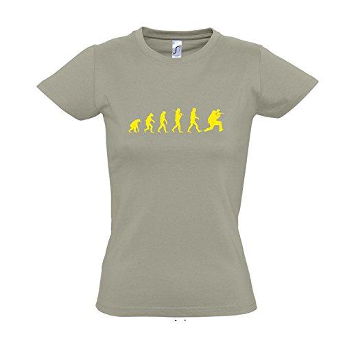 Damen T-Shirt - EVOLUTION - Paintball Sport FUN KULT SHIRT S-XXL Khaki - gelb