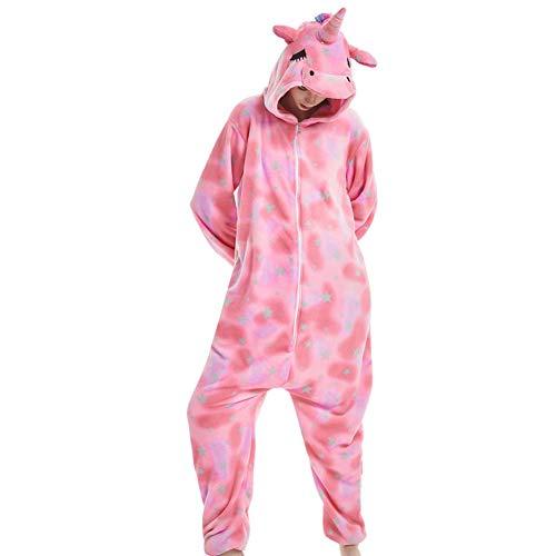 Damen/Herren Cartoon Kostüm- Jumpsuit Overall Schlafanzug Pyjamas Einteiler, Rosa Pegasus, XL für Körpergröße 173-185CM ()