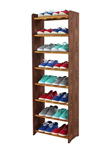 Schuhregal Schuhschrank Schuhe Schuhständer RBS-8-45 (Seiten dunkelbraun, Stangen in der Farbe...