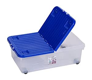 32 litre underbed storage box with wheels and split folding lid in cobalt blue 12740. Black Bedroom Furniture Sets. Home Design Ideas