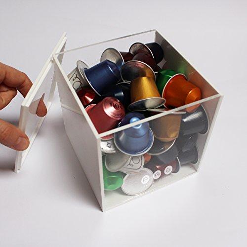 .:plexiartglass:. porta capsule cubo con coperchio bianco+trasparente in plexiglass made in italy