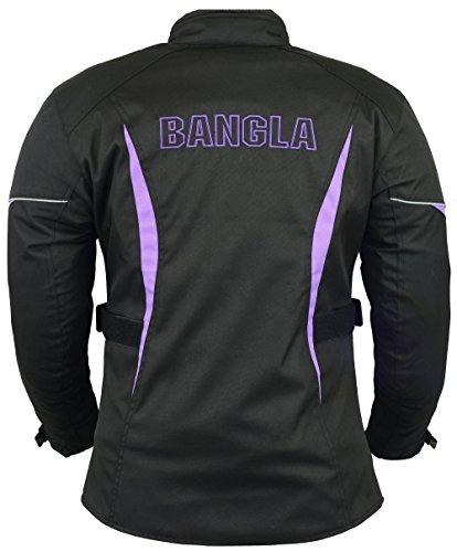 B-102 Bangla Sportliche Damen Motorrad Jacke Textil Schwarz-Lila XL - 2