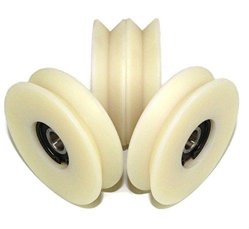 (V80–20–12) 4Stück Nylon Polyamid Riemenscheibe Rollen 80mm Durchmesser mit 90° V Groove Schiebetür Gate Rad hergestellt in der EU